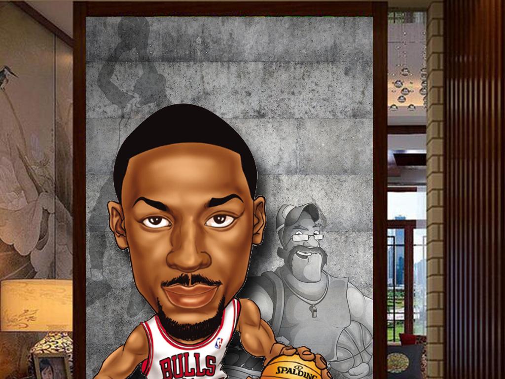 3d动漫人物明星篮球墙壁工装玄关