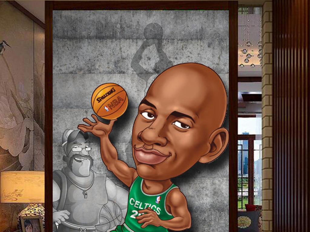 3d复古墙壁动漫手绘篮球明星工装玄关