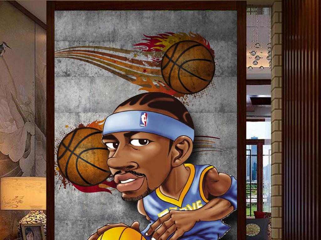 3d篮球明星动漫人物墙壁工装玄关