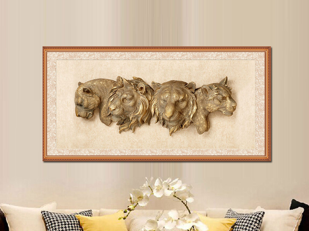 背景墙|装饰画 无框画 动物图案无框画 > 3d创意立体狮子老虎头无框画
