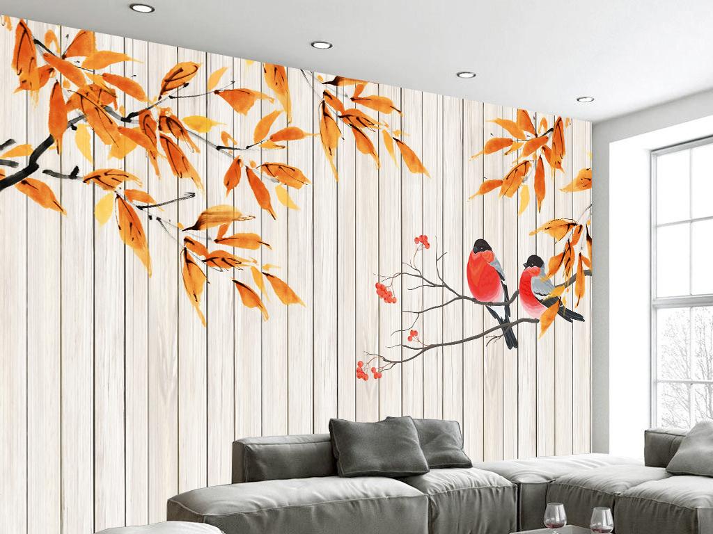 简约秋意木板手绘背景墙