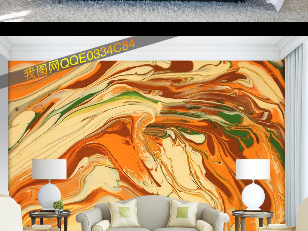 手绘抽象几何山水油画装饰画背景墙