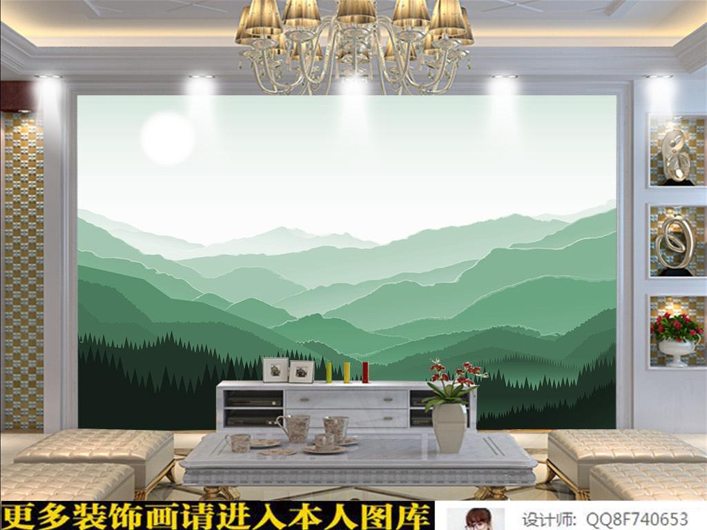 咖啡厅田园背景墙欧美田园极简主义抽象时尚北欧简约山峰简约风格北欧图片