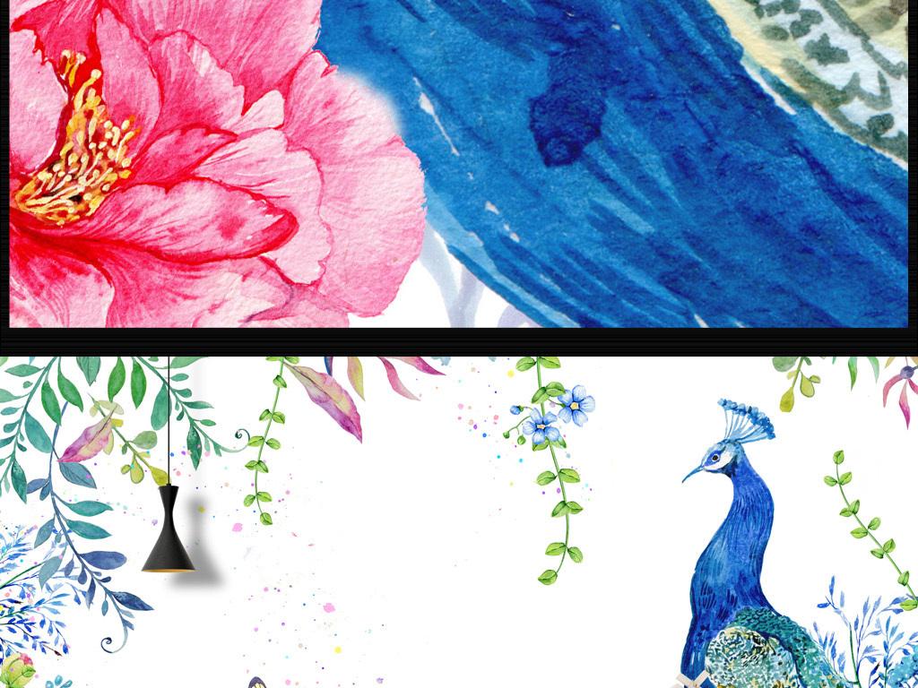 手绘背景客厅简欧孔雀花朵蓝孔雀卧室工装背景墙水彩