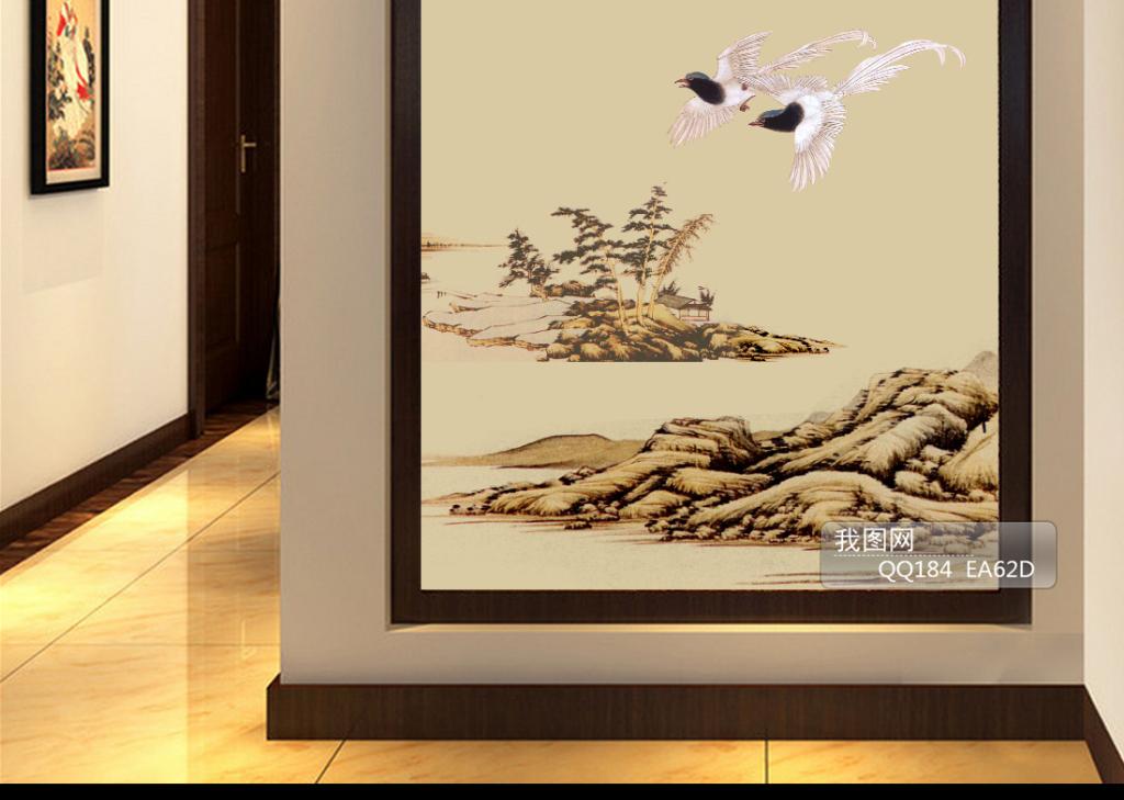 春日手绘背景墙中式玄关国画