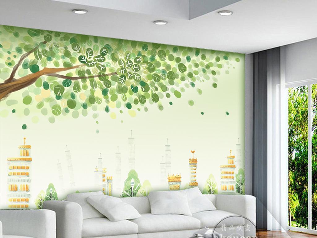 绿色清新环保梦幻手绘电视背景墙