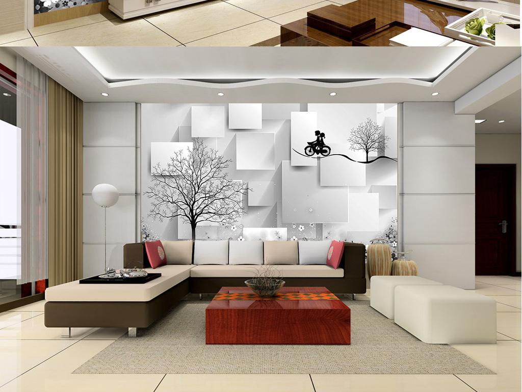 浪漫3d立体方块手绘大树室内电视背景墙