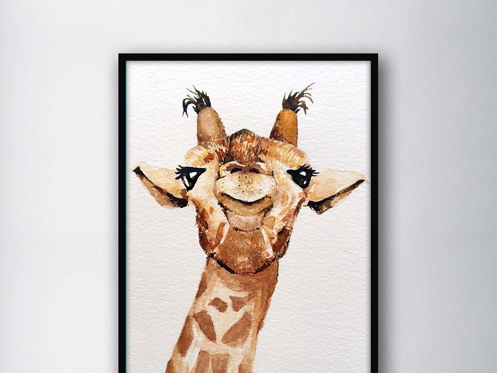 长颈鹿的头动物手绘水彩现代室内客厅装饰画