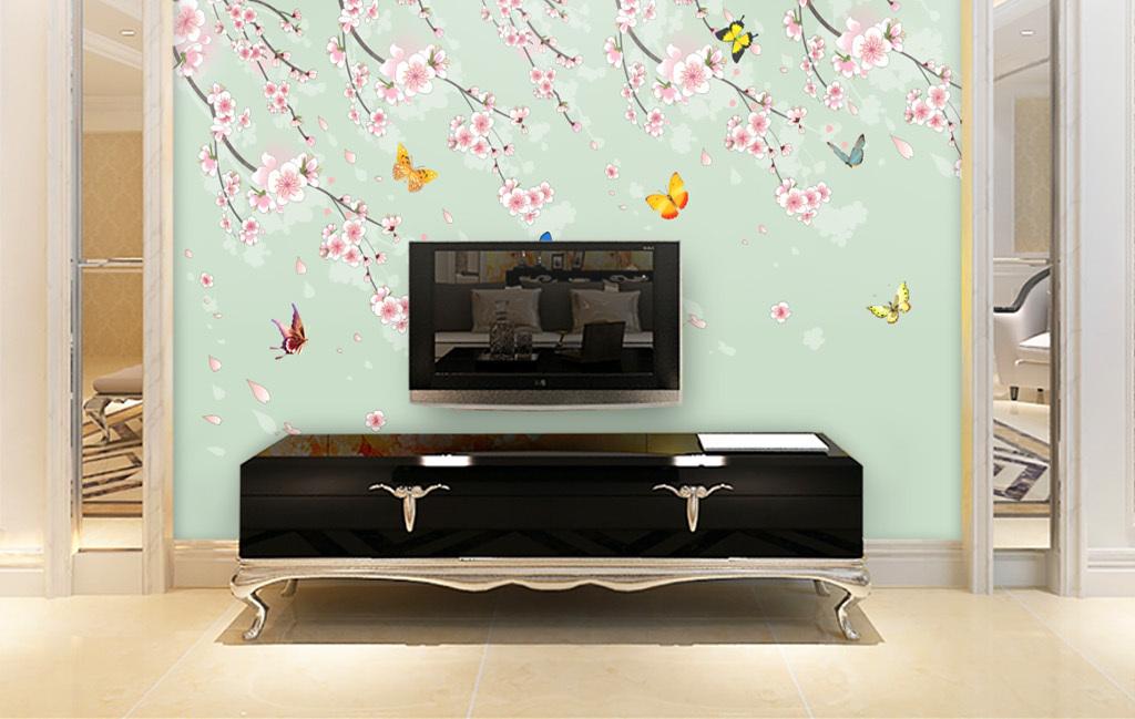花飞蝶舞浪漫樱花欧式瓷砖背景墙壁画