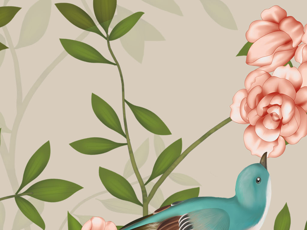 超清工笔花鸟中式手绘背景墙中国风壁画