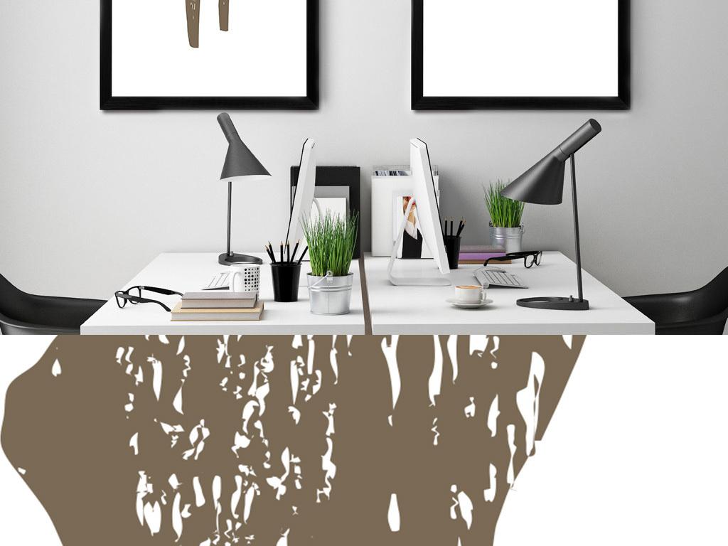 北欧简约手绘麋鹿装饰画