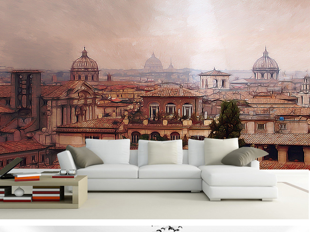 抽象国外风景城堡背景墙(图片编号:15785222)