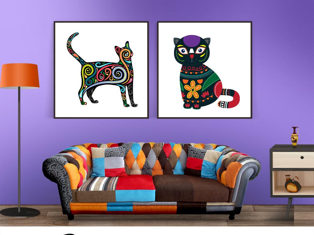 背景墙|装饰画 无框画 动物图案无框画 > 北欧简约新中式抽象猫装饰画