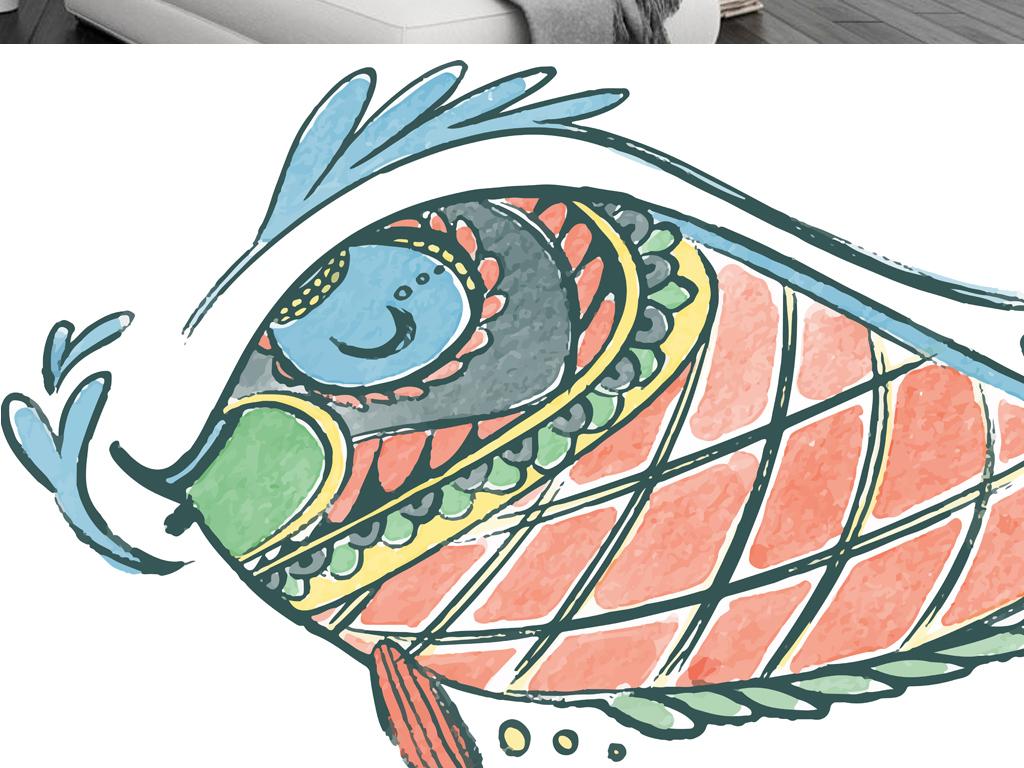 背景墙|装饰画 无框画 动物图案无框画 > 北欧简约抽象鱼装饰画图片
