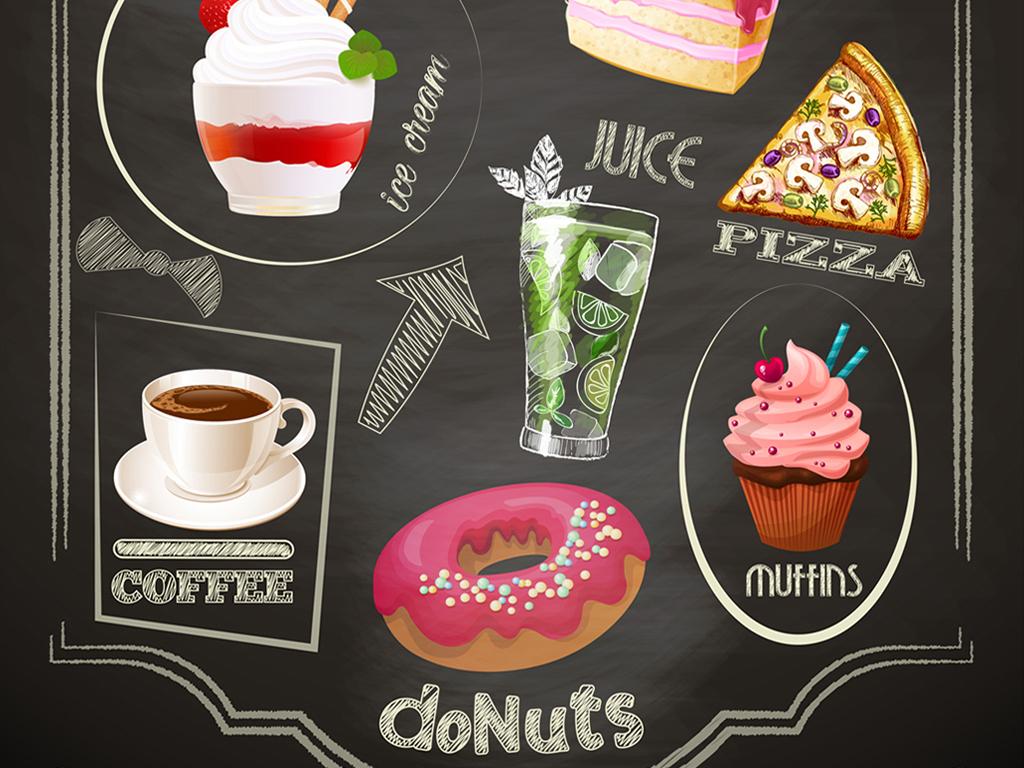 甜品店餐厅装饰画手绘复古菜单装饰画手绘卡通厨师