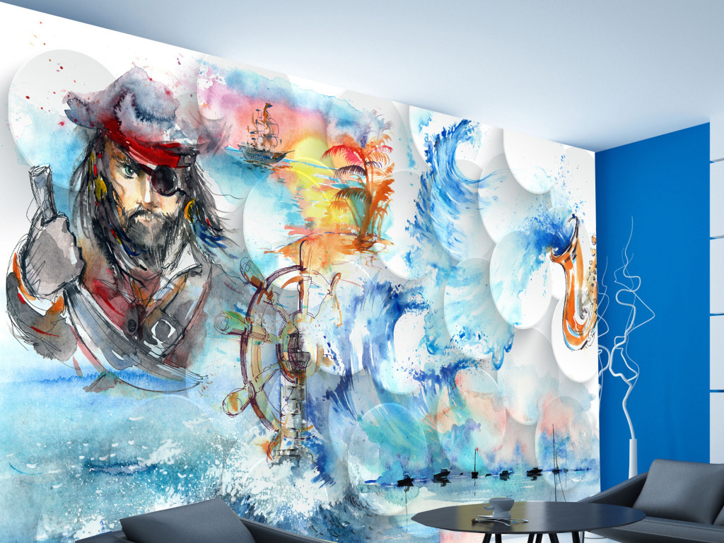 海盗船长手绘画背景墙