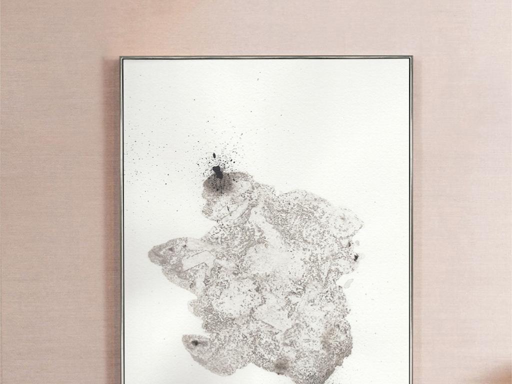 可爱卡通灰白色抽象北极熊动物装饰画