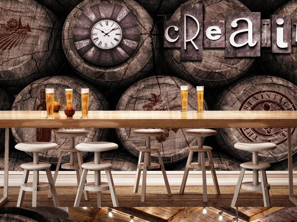 酒桶木桶酒吧咖啡厅背景墙(图片编号:15787273)