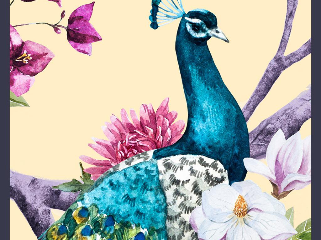 新中式孔雀花卉玄关过道装饰画图片