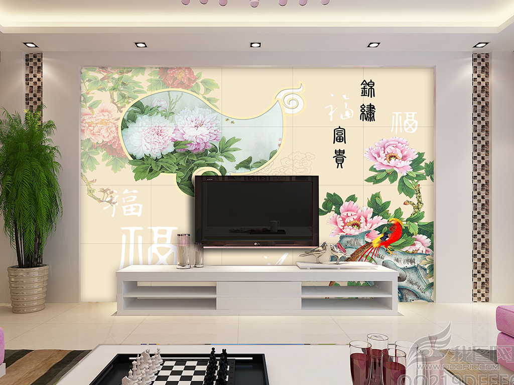 花开富贵牡丹福字中式客厅背景墙图片