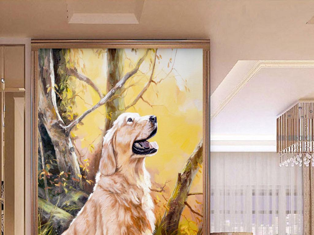 背景墙|装饰画 玄关 油画|立体油画玄关 > 超清手机犬狗动物油画玄关