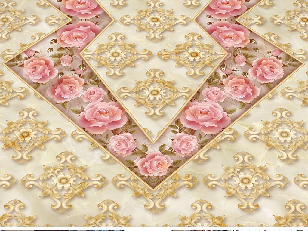 欧式奢华玫瑰浮雕立体花纹3d地板地砖