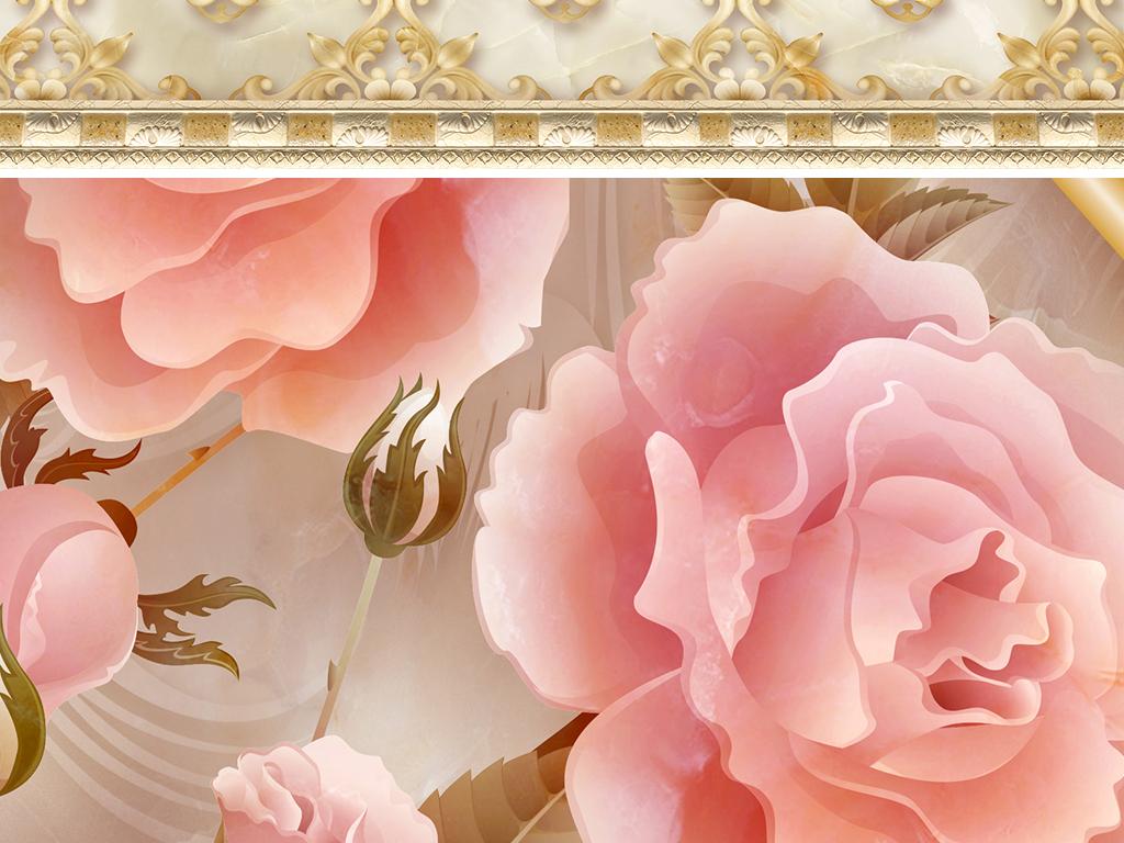 花环浮雕欧式花纹瓷砖地板砖卧室地板酒店拼花地板