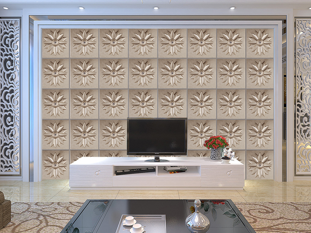 图网提供精品流行高级钻石软包客厅电视沙发床头背景