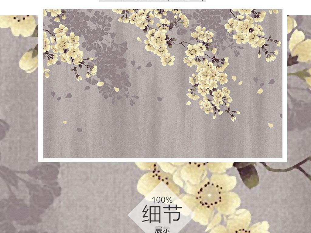新中式素雅手绘樱花电视背景墙