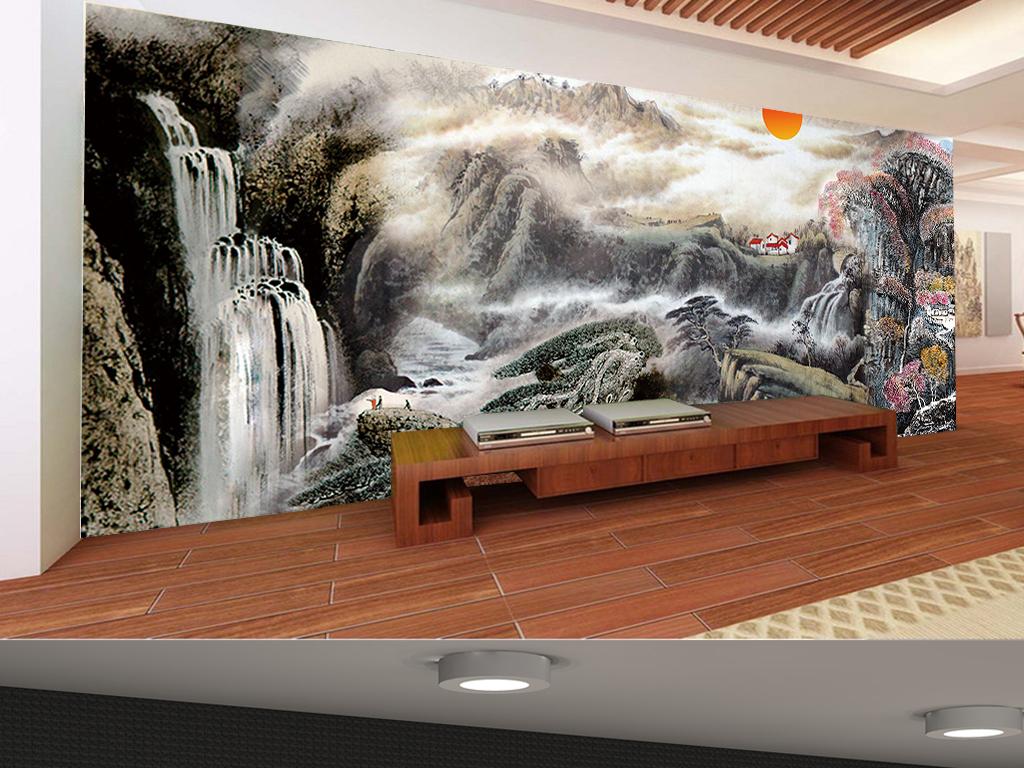国画山水紫气东来中式客厅背景墙装饰画
