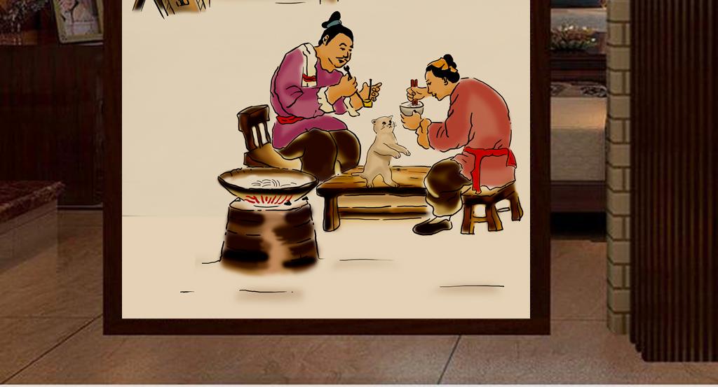 客厅形象墙壁画手绘人物传统美食民族民俗小吃风俗面馆拉面背景墙饭馆