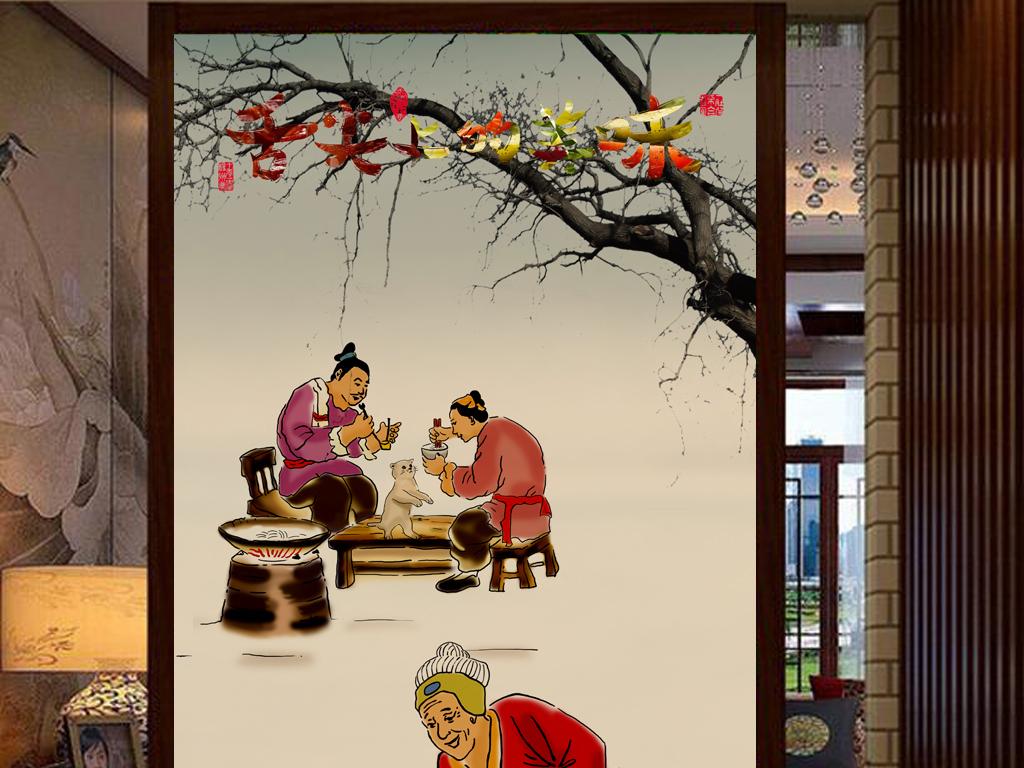 壁画                                  手绘人物传统美食