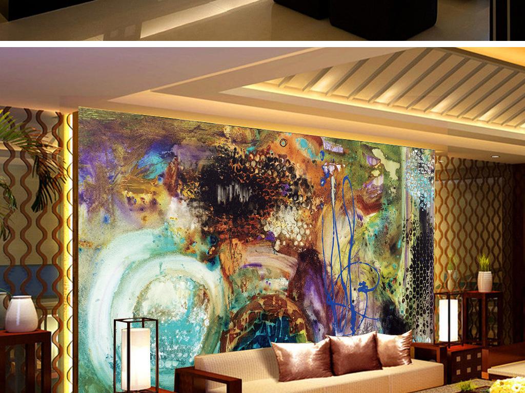 抽象泼墨七彩油画背景墙(图片编号:15789041)