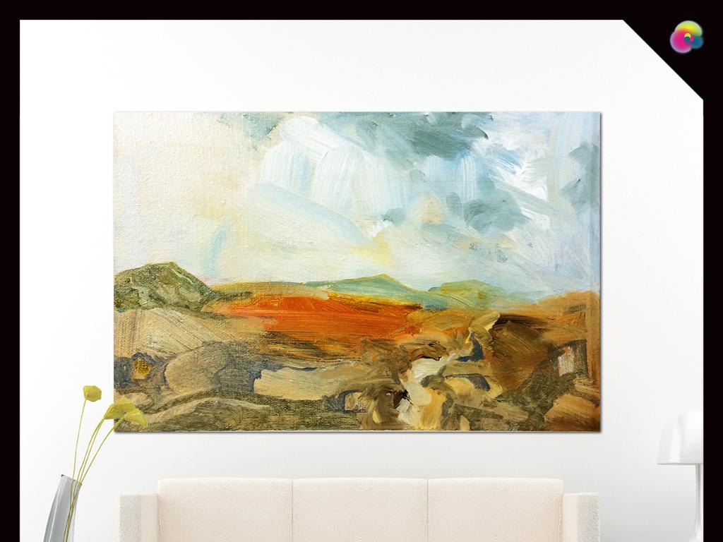 现代简约手绘抽象风景油画艺术电视背景墙