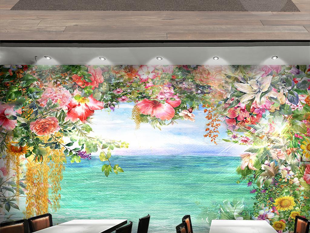手绘水彩鲜花背景墙