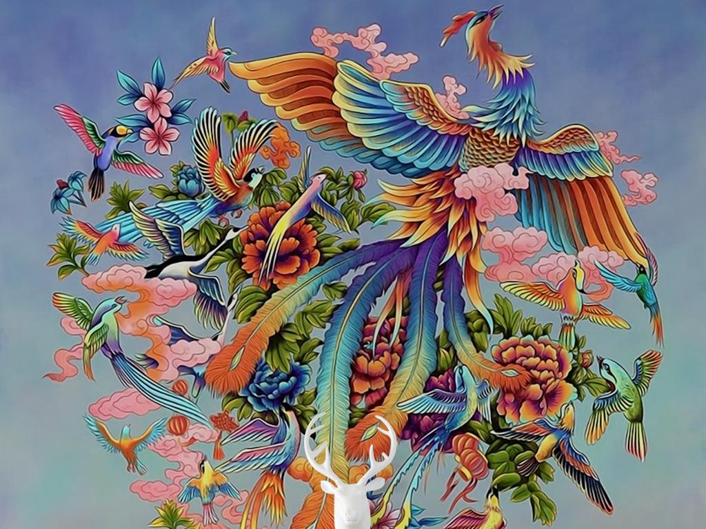 新中式手绘油画百鸟朝凤牡丹花山峰玄关过道