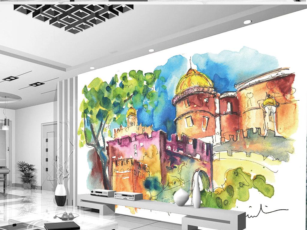 欧式电视背景墙 > 抽象国外风景城堡水彩画背景墙