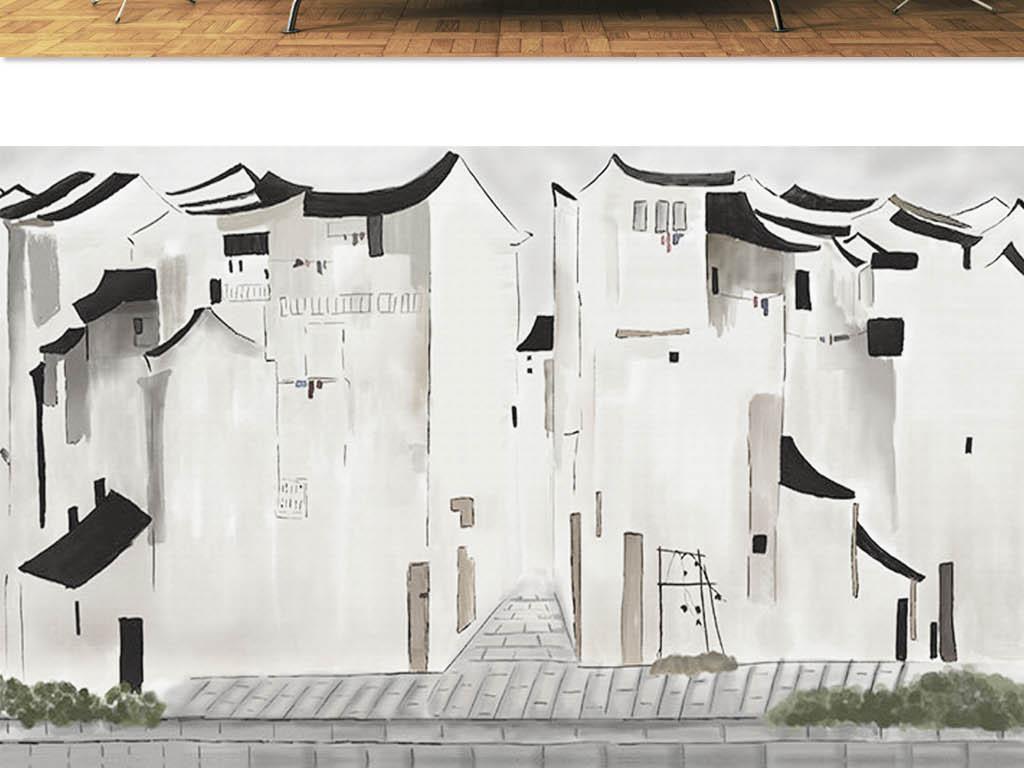 江南古镇简约水墨背景墙(图片编号:15791032)_手绘墙