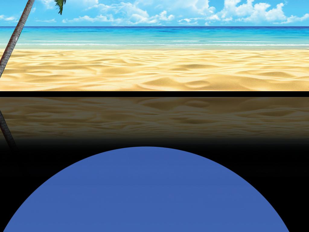蓝天白云大海沙滩椰树简约海景背景墙