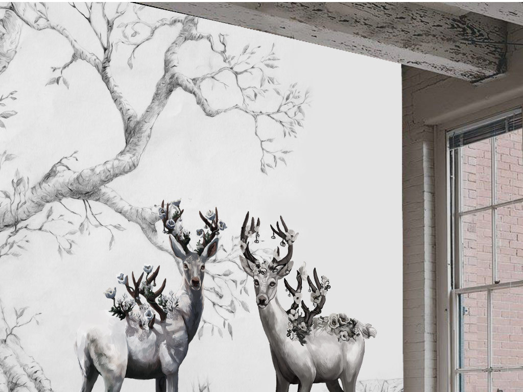 手绘黑白大树麋鹿无框画