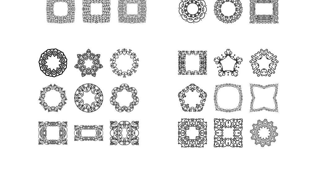 设计素材 > 古代传统圆形花边花纹矢量传统花边
