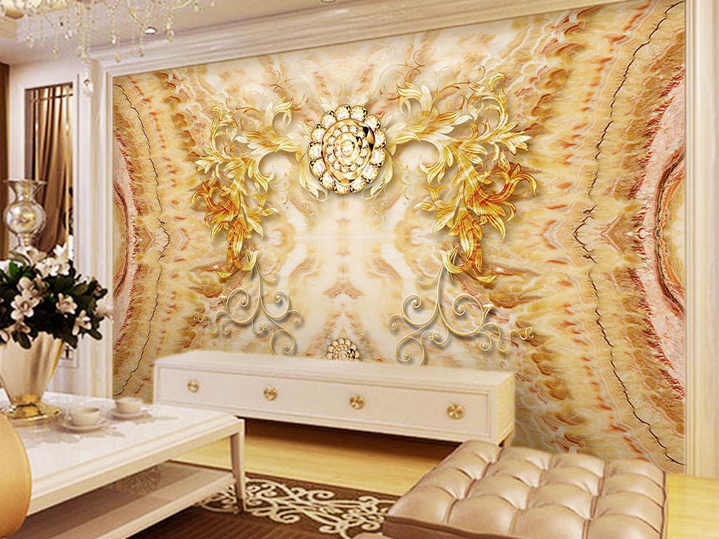 尊贵欧式古典花纹浮雕大理石纹拼花背景墙