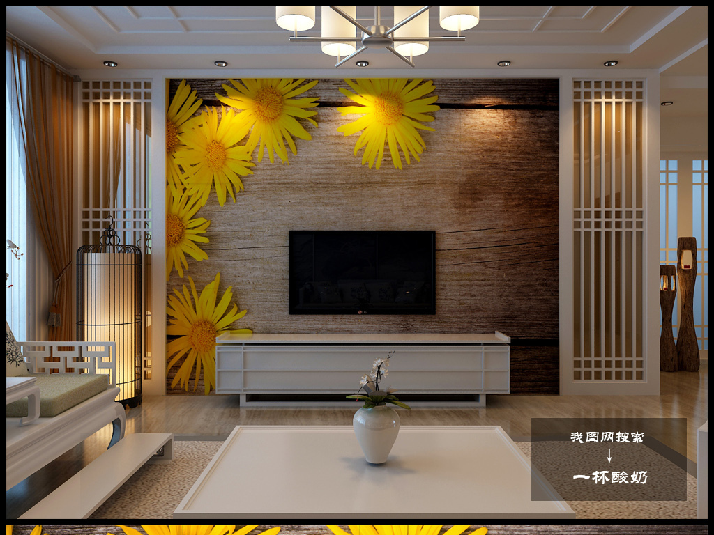 3d木纹电视背景墙田园风仿古木纹向日葵