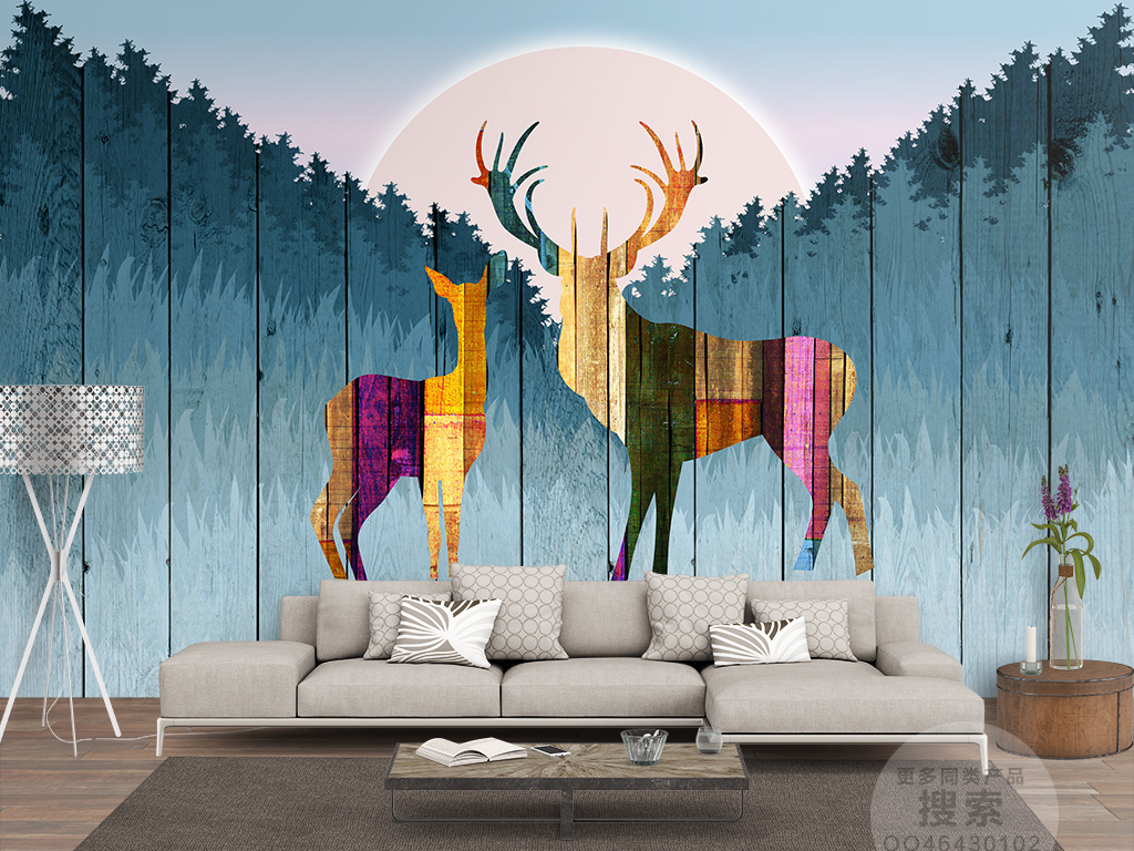 夕阳相伴麋鹿丛林北欧背景墙图片