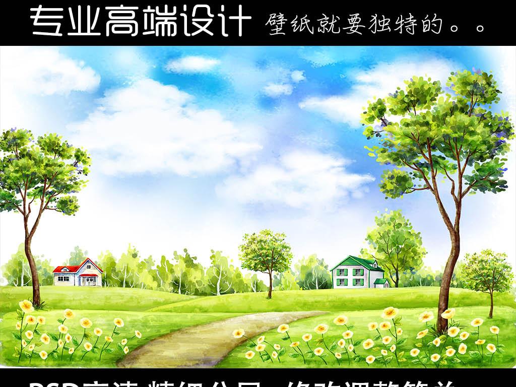 超清蓝天白云风景画手绘背景墙壁画壁纸