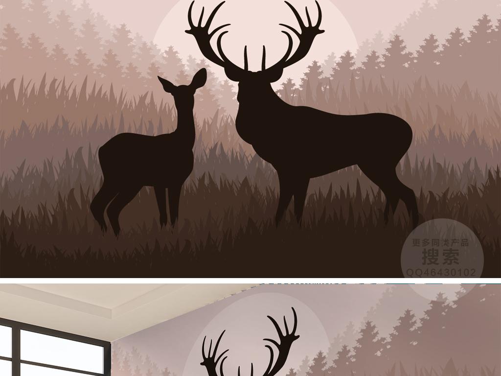 森林麋鹿现代背景墙