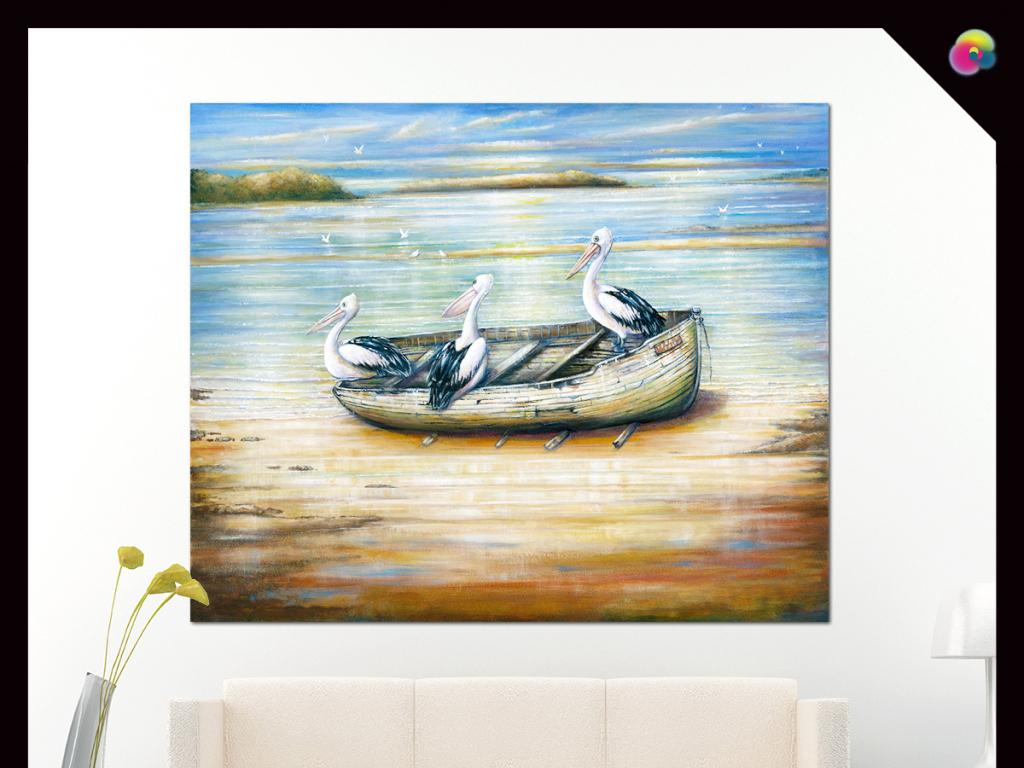 高清手绘欧式小船油画家居装饰画