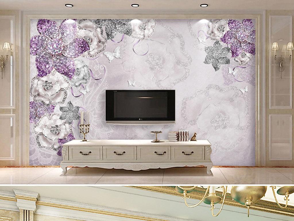 高贵华丽紫色欧式花朵3d立体电视背景墙