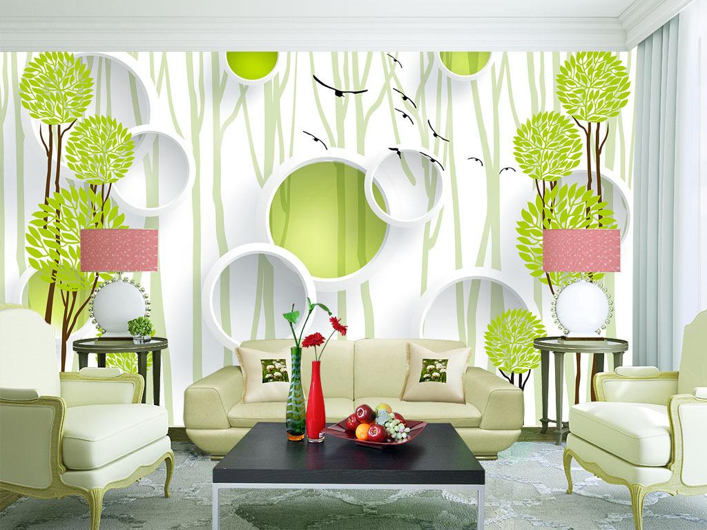现代简约抽象手绘绿色小树客厅电视背景墙