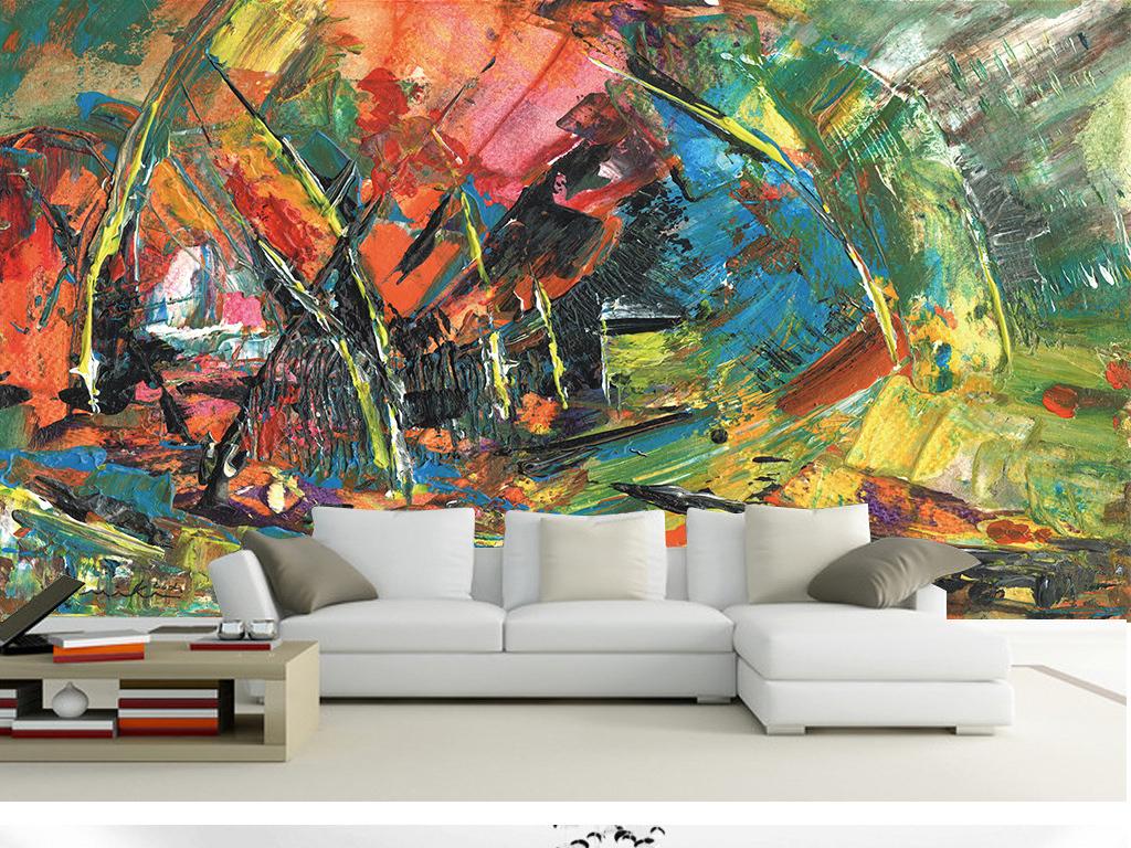抽象手绘油画背景墙